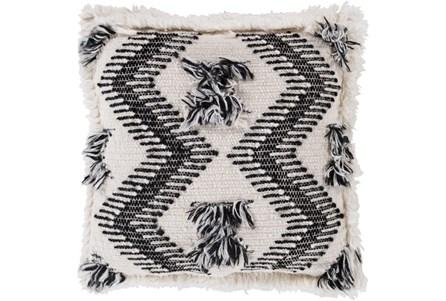 Accent Pillow-Brush Fringe Boho Black And Ivory 20X20 - Main