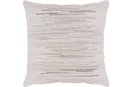 Accent Pillow-Hide Stripes Ivory And Grey 20X20
