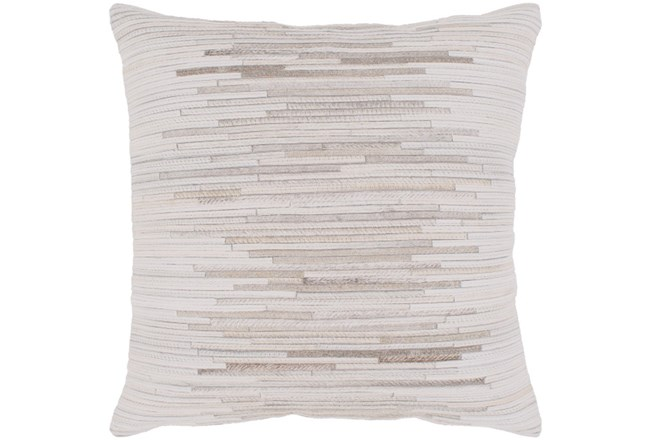 Accent Pillow-Hide Stripes Ivory And Grey 20X20 - 360