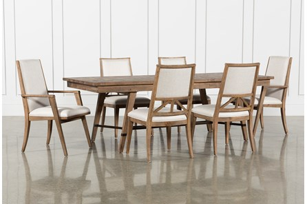 Craftsman 7 Piece Rectangular Extension Dining Set With Arm & Uph Side Chairs - Main