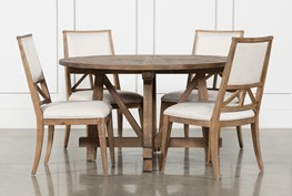 Craftsman 5 Piece Round Dining Set With Uph Side Chairs