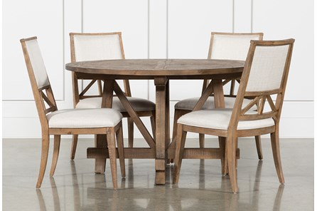 Craftsman 5 Piece Round Dining Set With Uph Side Chairs - Main