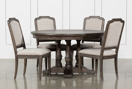 Laurent 5 Piece Round Dining Set With Upholstered Chairs
