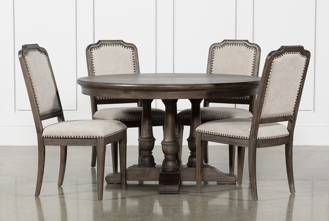 Laurent 5 Piece Round Dining Set With Upholstered Chairs - 360