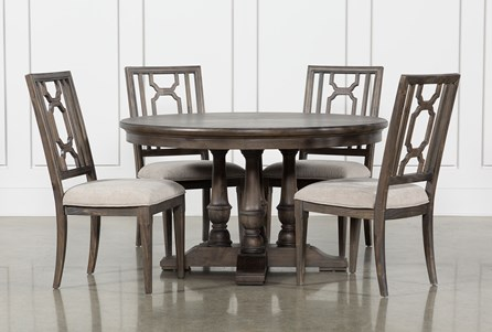Laurent 5 Piece Round Dining Set With Wood Chairs