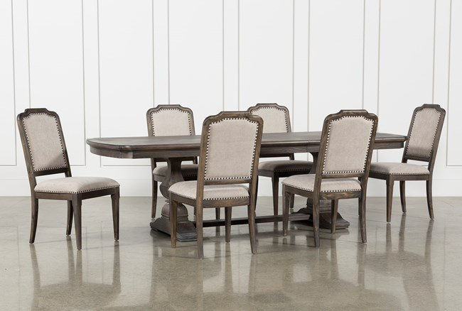 Laurent 7 Piece Rectangle Dining Set With Upholstered Chairs - 360