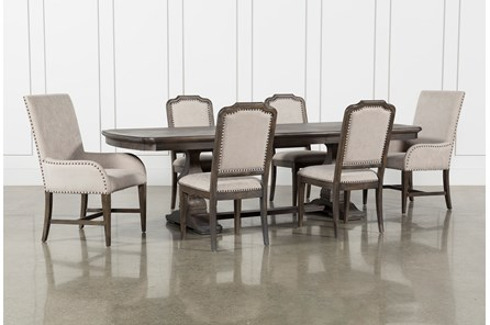 Laurent 7 Piece Rectangle Dining Set With Uph And Host Chairs