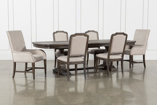 Laurent 7 Piece Rectangle Dining Set With Uph And Host Chairs - 360