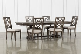Laurent 7 Piece Rectangle Dining Set With Wood Chairs