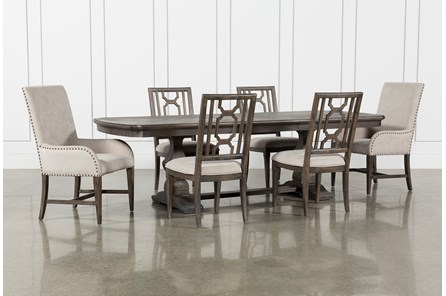 Laurent 7 Piece Rectangle Dining Set With Wood And Host Chairs