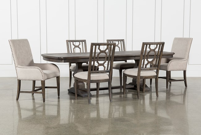 Laurent 7 Piece Rectangle Dining Set With Wood And Host Chairs - 360