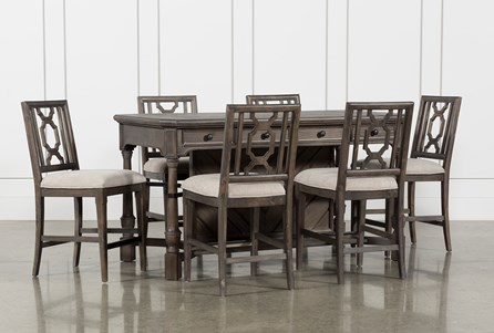 Laurent 7 Piece Counter Set With Wood Counterstools