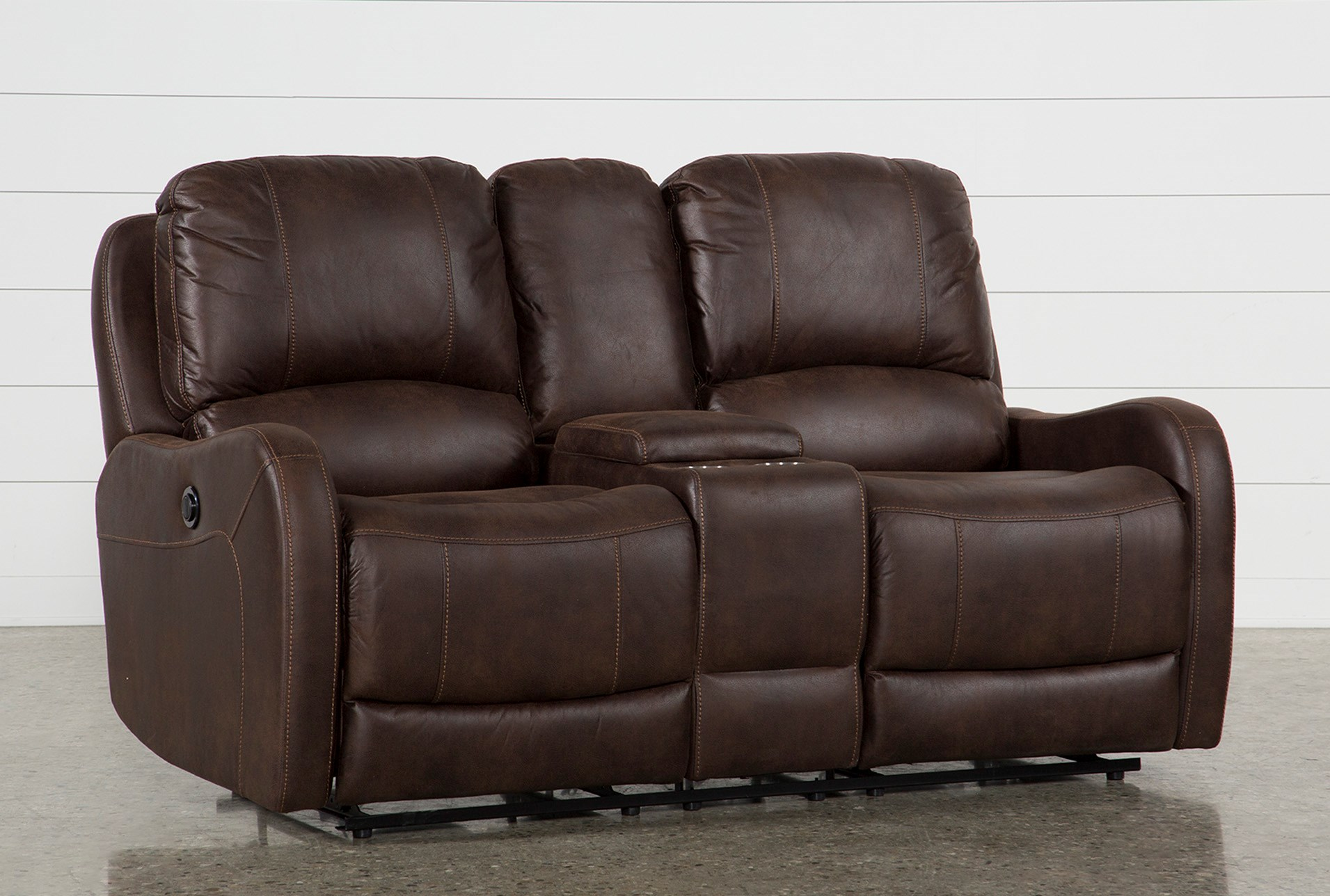 Davor Brown Power Reclining Loveseat With Console Living Spaces