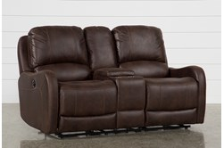 "Davor Brown 70"" Power Reclining Loveseat With Console"