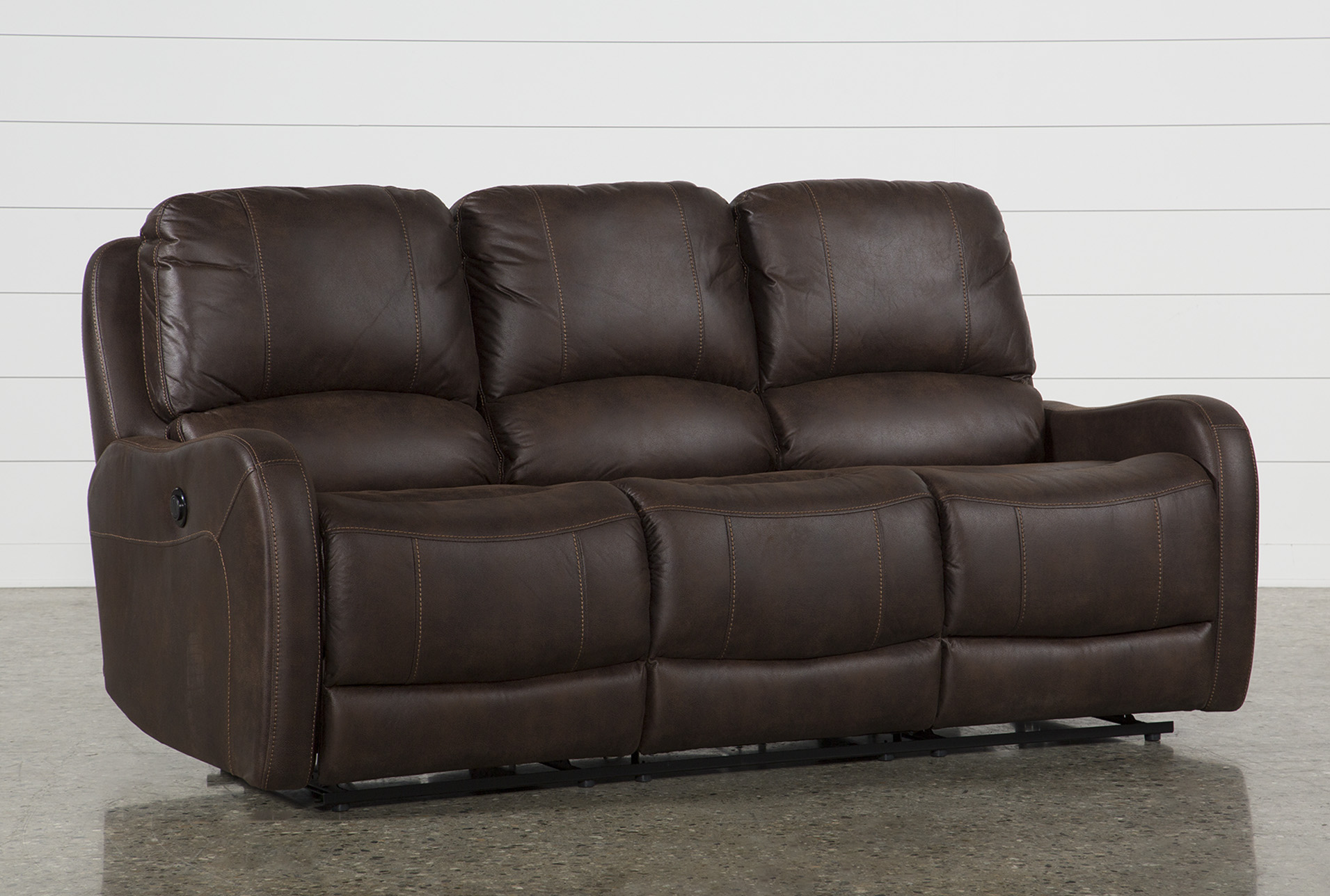 davor brown power reclining sofa living spaces rh livingspaces com best power sofa recliners power recliners sofa costco