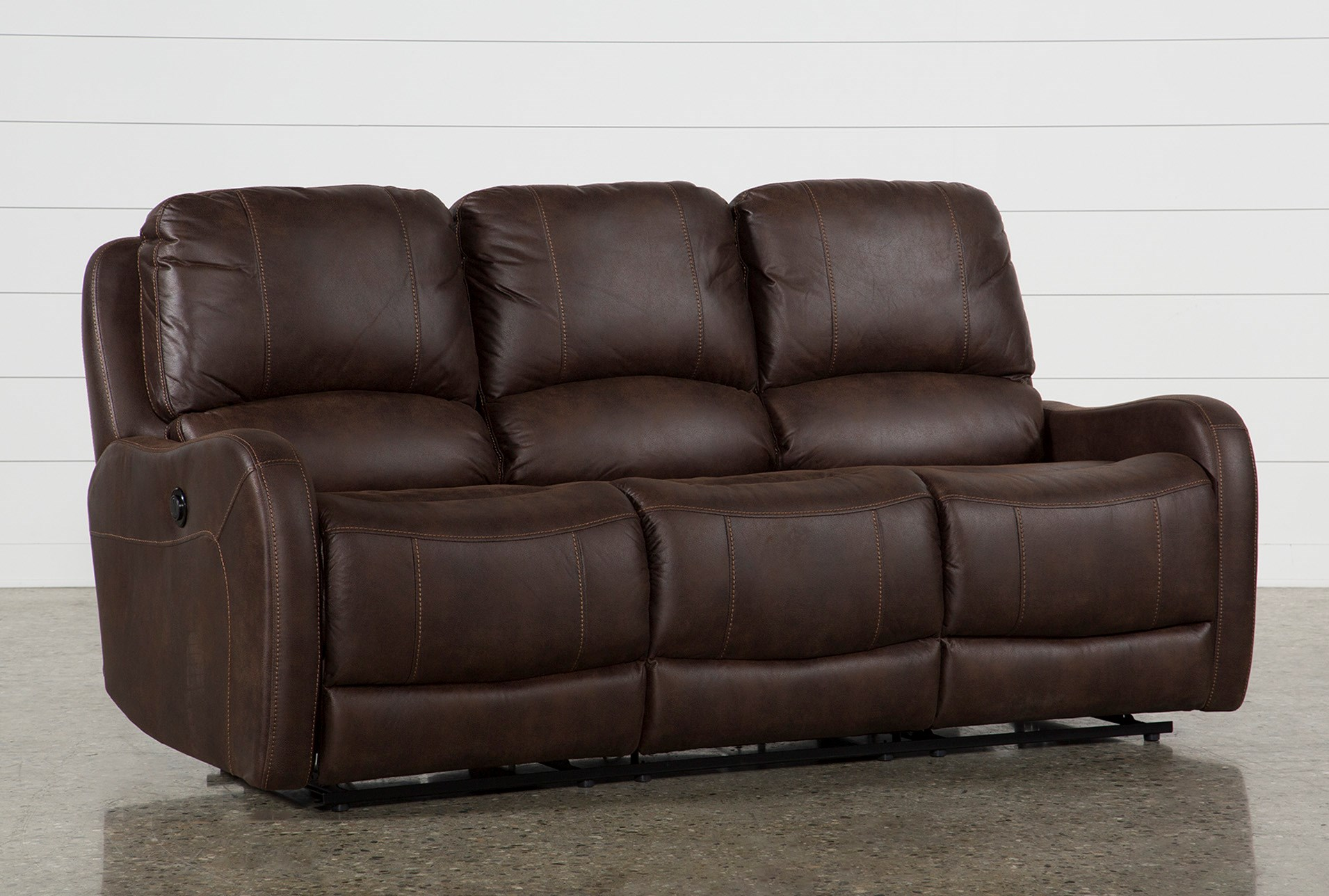 Davor Brown Power Reclining Sofa Living Spaces