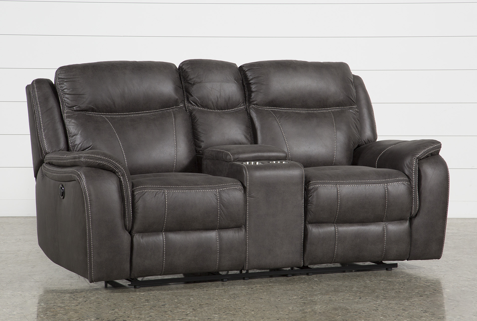 Griffin Grey 77 Power Reclining Loveseat With Console Living Spaces