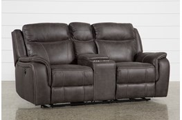 Davor Brown Power Reclining Loveseat With Console Living