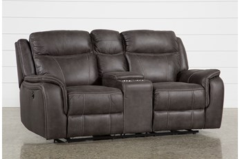 "Griffin Grey 77"" Power Reclining Loveseat With Console"