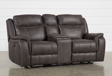 Griffin Grey Power Reclining Loveseat With Console