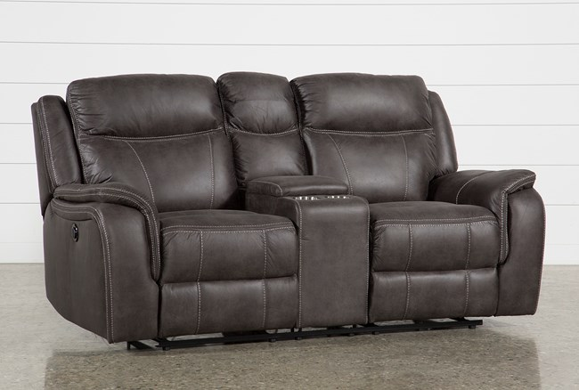 """Griffin Grey 77"""" Power Reclining Loveseat With Console - 360"""