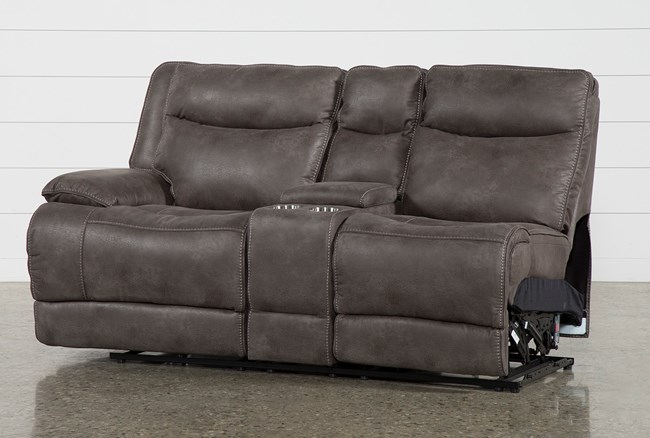 Taron Left Facing Power Reclining Loveseat With Console - 360