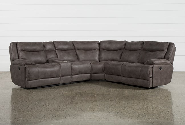 Taron 3 Piece Power Reclining Sectional With Left Facing Console Loveseat - 360