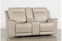 Cheyenne Black Leather Power Reclining Console Loveseat W