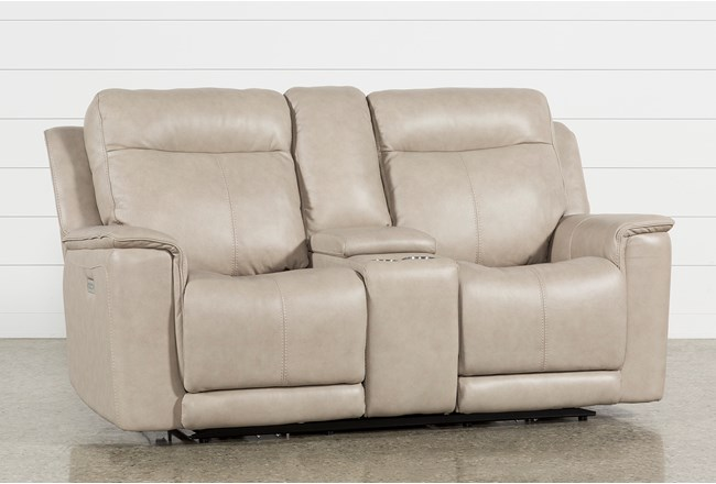 Walsh Dove Power Reclining Console Loveseat, W/Pwr Headrest, Lumbar & Us - 360