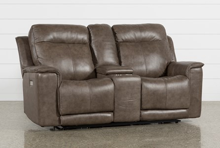 Walsh Mink Power Reclining Console Loveseat, W/Pwr Headrest, Lumbar & Us