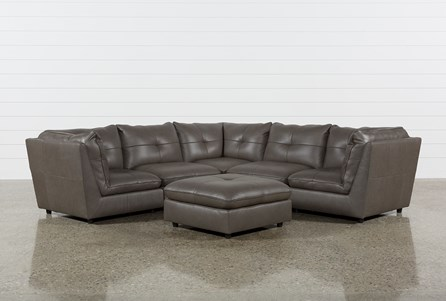 Adele Grey 5 Piece Sectional With 3 Corners And Ottoman