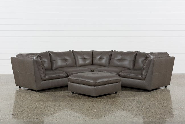 Adele Grey 5 Piece Sectional With 3 Corners And Ottoman - 360
