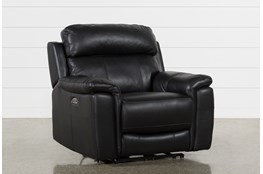 Dino Black Leather Power Recliner W/Power Headrest & Usb