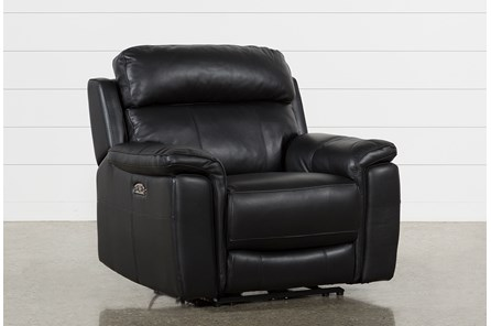 Dino Black Leather Power Recliner W/Power Headrest & Usb