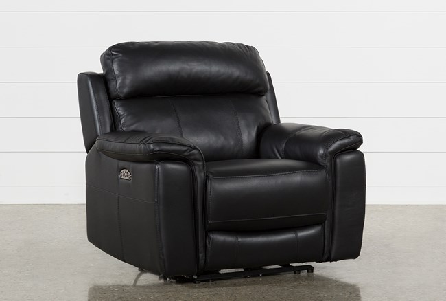Dino Black Leather Power Recliner W/Power Headrest & Usb - 360