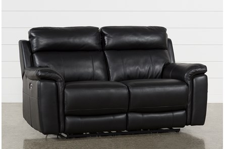 Dino Black Leather Power Reclining Loveseat W/Power Headrest & Usb