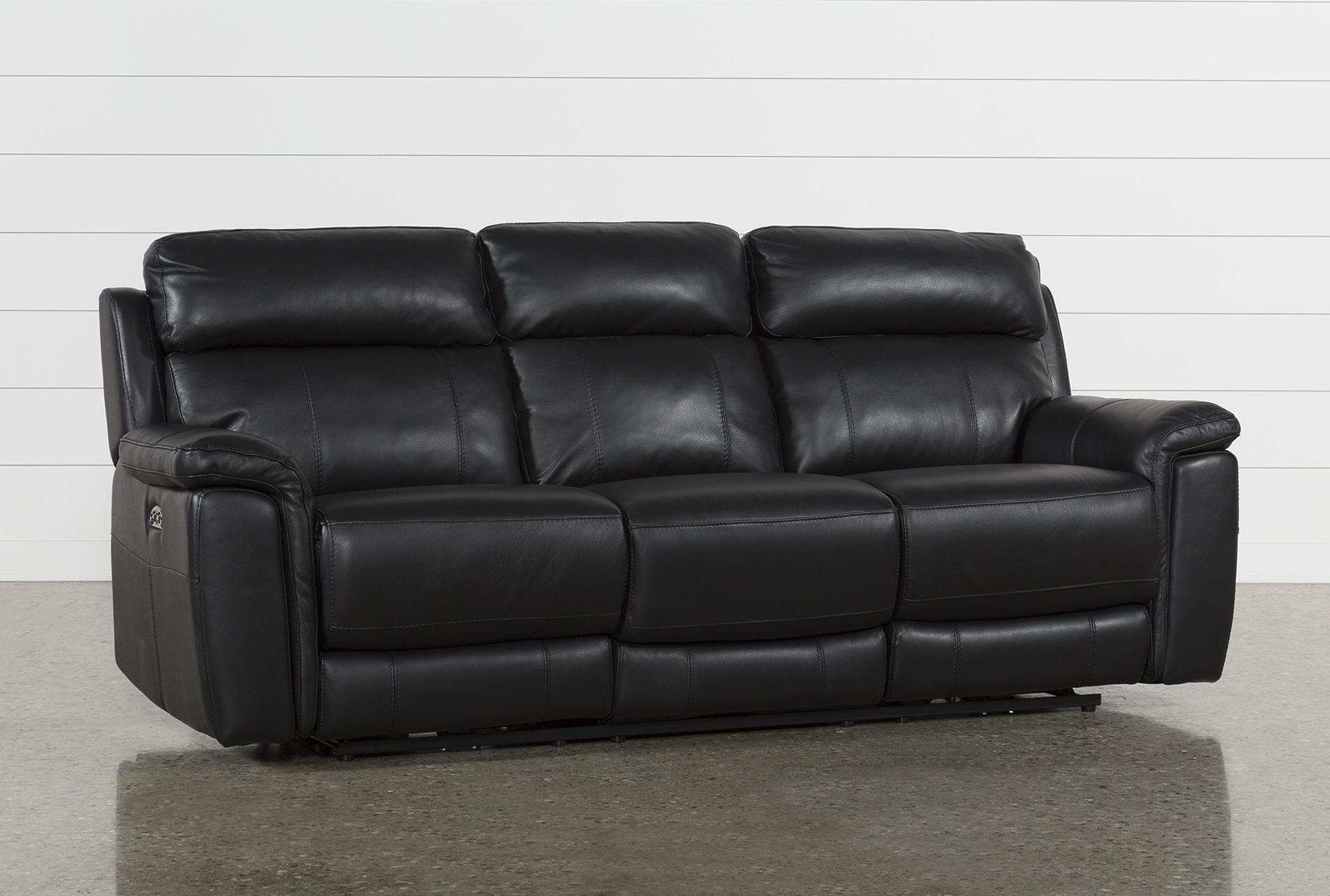 - Dino Black Leather Power Reclining Sofa W/Power Headrest & Usb