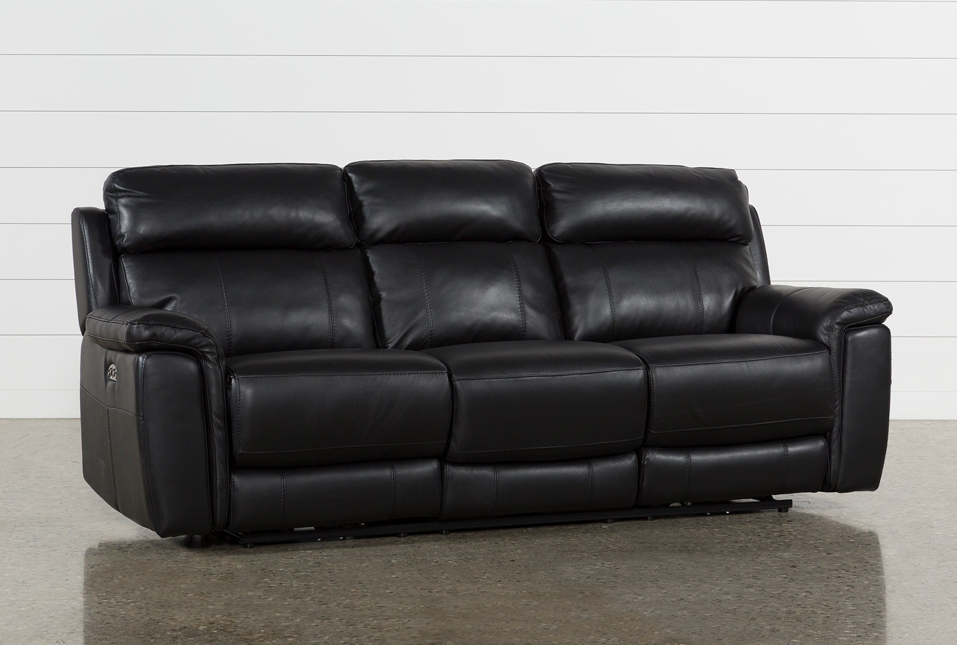 Dino Black Leather Power Reclining Sofa W/Power Headrest & Usb