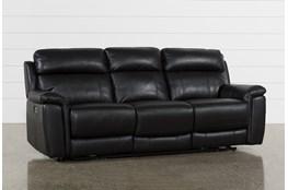 Dino Black Leather Power Reclining Sofa W/Power Headrest & Usb