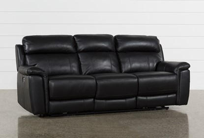 Excellent Dino Black Leather Power Reclining Sofa W Power Headrest Usb Pabps2019 Chair Design Images Pabps2019Com