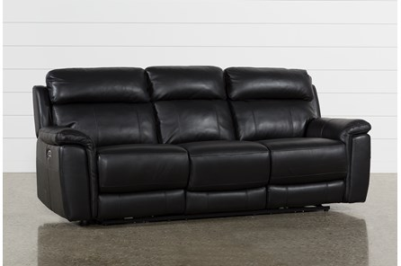 Dino Black Leather Power Reclining Sofa W/Power Headrest & Usb - Main