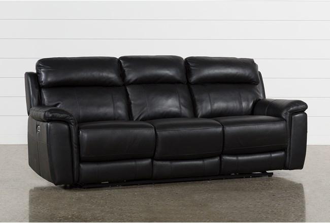 Dino Black Leather Reclining Sofa W Headrest Usb 360