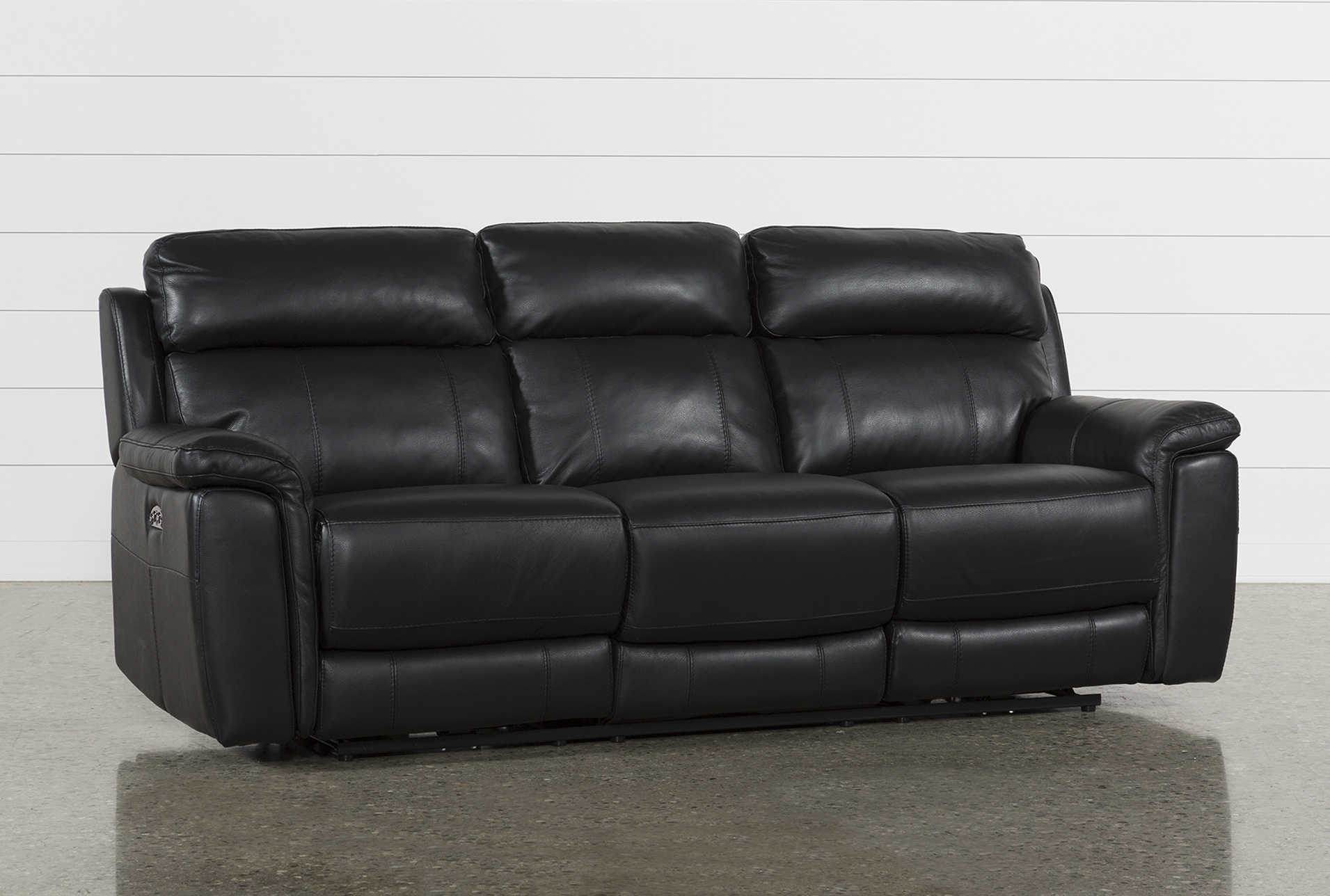 Dino Black Leather Power Reclining Sofa W/Power Headrest U0026 Usb   360