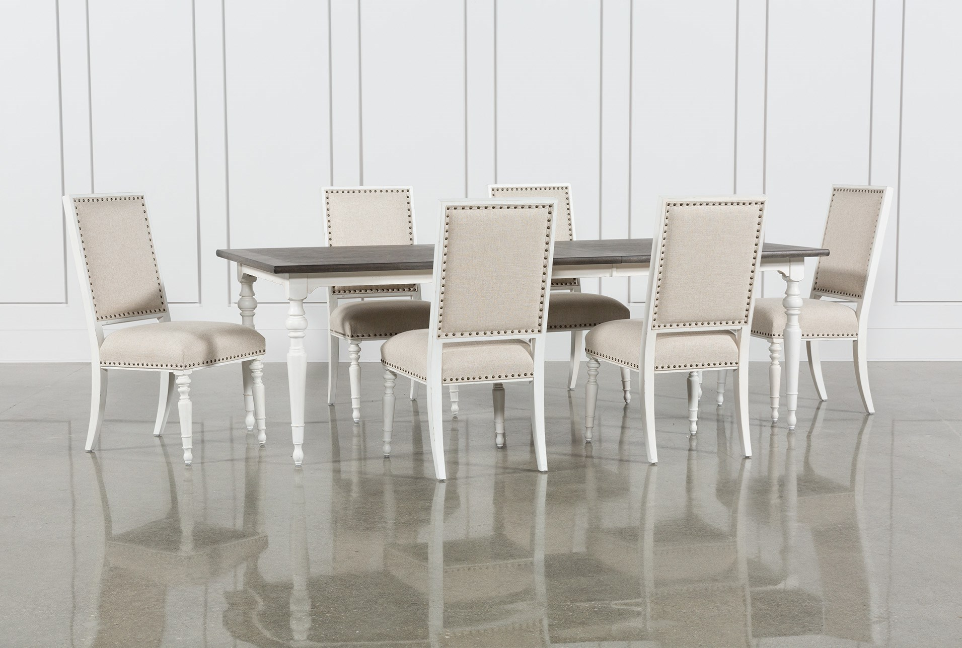 Candice II 7 Piece Extension Rectangular Dining Set With Uph Side ...