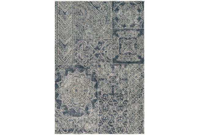24X36 Rug-Wool Tufted Patchwork Navy - 360