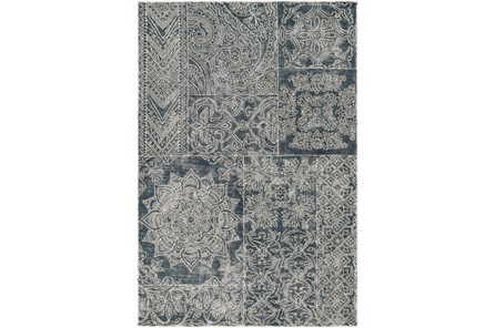 60X90 Rug-Wool Tufted Patchwork Navy