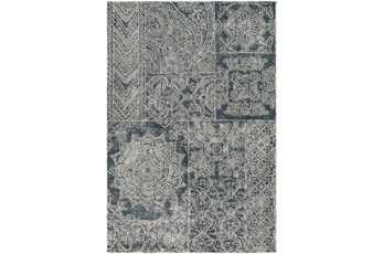 96X120 Rug-Wool Tufted Patchwork Navy