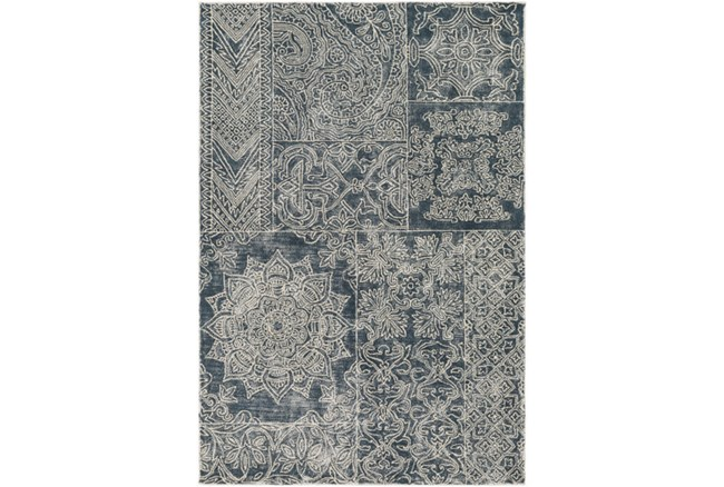 96X120 Rug-Wool Tufted Patchwork Navy - 360