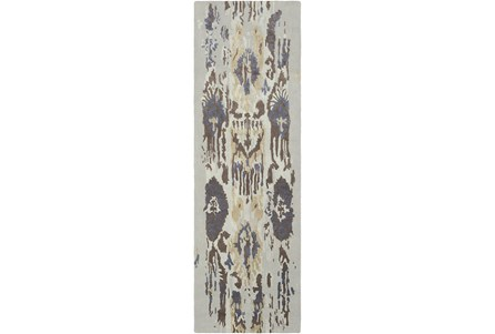 30X96 Rug-Wool Ikat Drip Grey & Brown