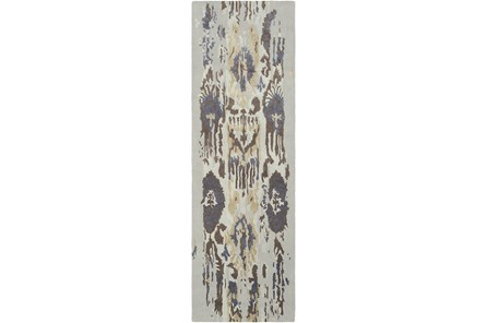 30X96 Rug-Wool Ikat Drip Grey & Brown